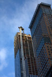 Dangerous crane in New York after Sandy hurricane Stock Photos