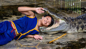 Dangerous crocodile show Stock Photo