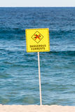 Dangerous current warning sign, no swimming in the sea Stock Photo