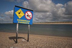 Dangerous currents sign Stock Images