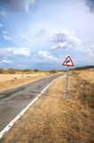 Dangerous curve. Public road next to segovia city in spain stock image