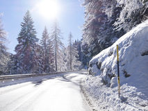 Dangerous curve in backlight. Empty road snowy in winter royalty free stock images