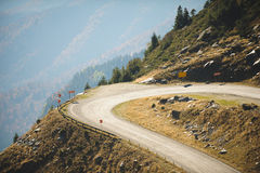 Dangerous Curve in Road. At mountains stock image