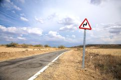 Dangerous curve sign Royalty Free Stock Image