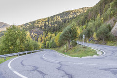 Dangerous curve at the top of the mountain. Dangerous curve at the top of the mountain in Andorra La Vella stock photo