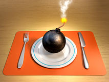 Dangerous diet. A lit bomb on a plate with fork and knife at its sides. Digital illustration Stock Image