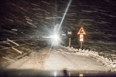 Dangerous driving conditions. At night in winter Royalty Free Stock Photos