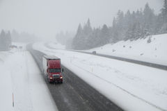 Dangerous driving, snow-covered interstate highway Royalty Free Stock Image