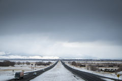 Dangerous driving, snow-covered interstate highway Stock Photos