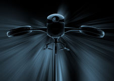 Dangerous drone remotely-operated on black background 3d illustr Royalty Free Stock Photos