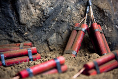 Dangerous dynamite on mine Royalty Free Stock Photo