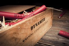Dangerous dynamite sticks on wooden a box Royalty Free Stock Photography