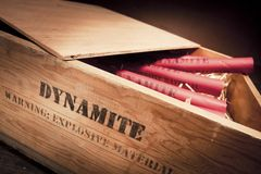 Dangerous dynamite sticks on wooden a box Royalty Free Stock Photos