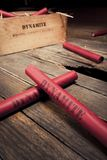 Dangerous dynamite sticks on wooden a box Stock Photo