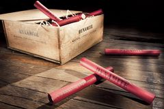 Dangerous dynamite sticks on wooden a box Royalty Free Stock Image