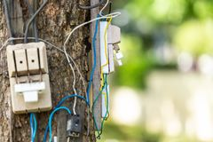Dangerous electric cable and equipment set up on the tree. In the park royalty free stock photo