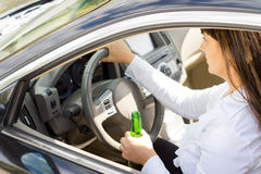 Dangerous female driver Royalty Free Stock Photography