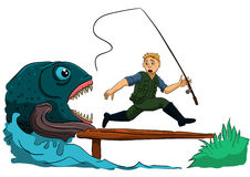 Dangerous fishing Royalty Free Stock Photography