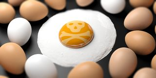 Dangerous food concept. Skull on a fried egg`s yolk. 3d illustration. Dangerous food or food allergy concept. A skull on a fried egg`s yolk. 3d illustration Royalty Free Stock Photo