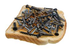 Dangerous Food Concept  - Toast Sandwich With Nails And Screw Isolated Royalty Free Stock Photography