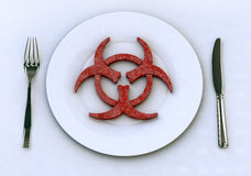 Dangerous food into plate concepts Royalty Free Stock Photos