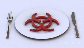 Dangerous food into plate concepts. Dangerous food into plate with for and knife, 3d illustration Stock Image