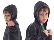 Dangerous and funny little boy with hood Royalty Free Stock Image