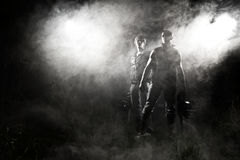 Dangerous gangsters. And abstract smoke Stock Photography