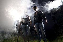 Dangerous gangsters. And abstract smoke Royalty Free Stock Image