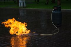 Gas Flame from Gas Tank Royalty Free Stock Images