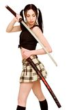 Dangerous girl with sword Royalty Free Stock Photography