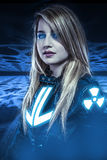 Dangerous, Girl With Blue Eyes, Fantasy Scene, Future Warrior Royalty Free Stock Photography
