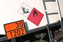 Dangerous goods. Orange-colored plate with hazard-identification number 30 and UN-Number 1202 (gas oil or diesel fuel or heating oil, light royalty free stock images