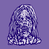 Dangerous head of zombie woman. Vector illustration. Royalty Free Stock Images