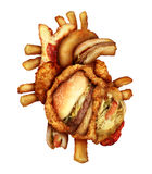 Dangerous Heart Diet. And unhealthy food concept with human cardiovascular anatomy organ made from unhealthy and fried fast food as fries and burgers as a Stock Photos