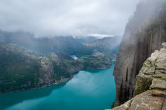 Dangerous high cliff from Prekestolen rock to fjord waters. Royalty Free Stock Photos