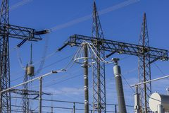 Dangerous High Voltage Electrical Power Substation III royalty free stock image