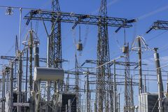 Dangerous High Voltage Electrical Power Substation IV stock photo