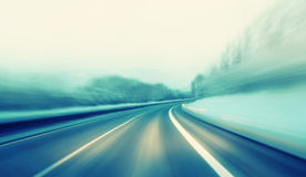 Dangerous highway winter driving Stock Images