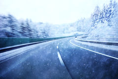 Dangerous highway winter snowy driving Royalty Free Stock Photography