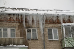 Dangerous icicles. Royalty Free Stock Photo