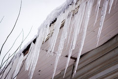 Dangerous icicles in a house roof. Dangerous icicles hanging on a house roof Royalty Free Stock Images