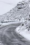 Dangerous Icy Mountain Road Stock Image