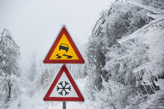 Dangerous and icy road. With sleet covered trees Stock Photography