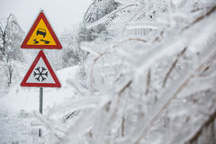 Dangerous and icy road Stock Photos