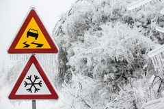 Dangerous and icy road Stock Image