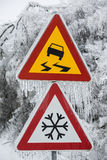 Dangerous and icy road. With sleet covered trees Royalty Free Stock Images
