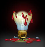 Dangerous Ideas. From a criminal mind as from a psychopath or sociopath with a broken light bulb bleeding human blood as a concept of violent thoughts and evil Stock Images