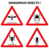 Dangerous insects warning signs: ticks, mosquitoes, bees, scorpi. Dangerous insects warning signs set: ticks, mosquitoes, bees, scorpions. Vector illustration Stock Images