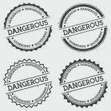 Dangerous insignia stamp isolated on white. Dangerous insignia stamp isolated on white background. Grunge round hipster seal with text, ink texture and splatter Stock Image